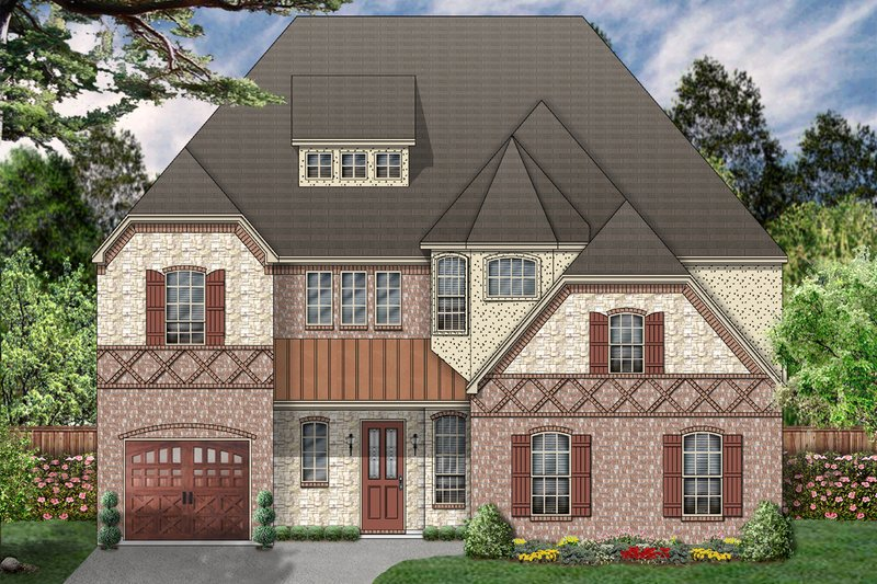 European Exterior - Front Elevation Plan #84-466