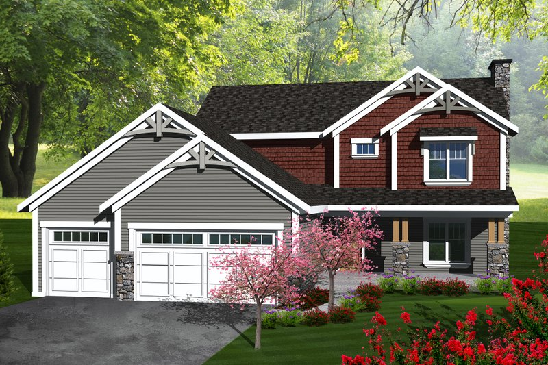 Craftsman Exterior - Front Elevation Plan #70-1133