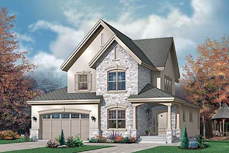 European Exterior - Front Elevation Plan #23-398