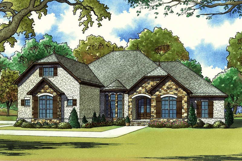 European Exterior - Front Elevation Plan #923-60
