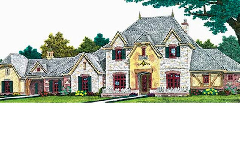European Style House Plan - 3 Beds 3.5 Baths 4712 Sq/Ft Plan #310-700 Exterior - Front Elevation
