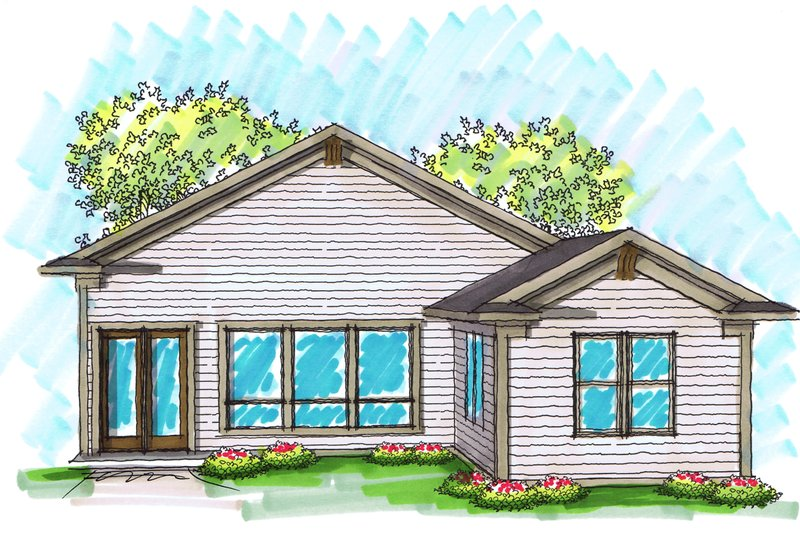Ranch Exterior - Rear Elevation Plan #70-1025 - Houseplans.com