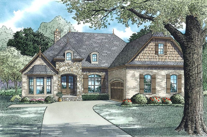 European Exterior - Front Elevation Plan #17-2508