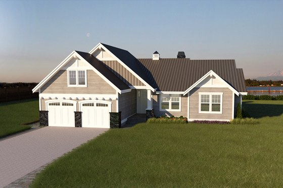 Southern Exterior - Front Elevation Plan #1070-8