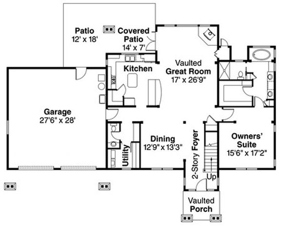 Craftsman Floor Plan - Main Floor Plan Plan #124-823
