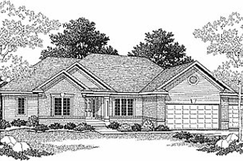 Traditional Style House Plan - 2 Beds 2 Baths 1710 Sq/Ft Plan #70-177 Exterior - Front Elevation
