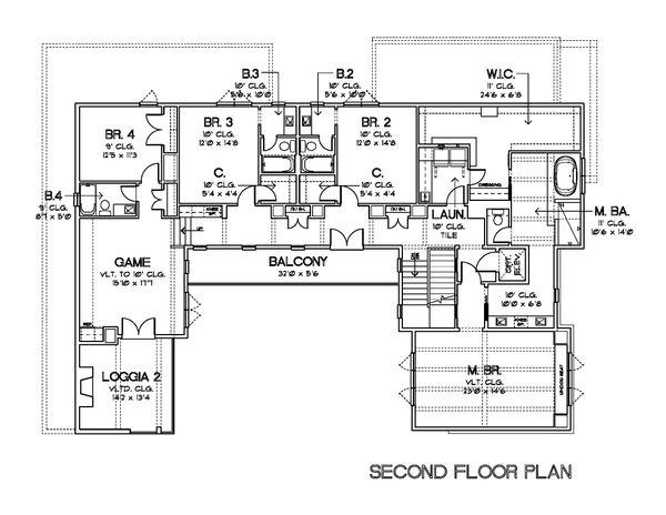 European Floor Plan - Upper Floor Plan Plan #449-22
