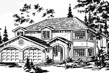 European Exterior - Front Elevation Plan #18-214