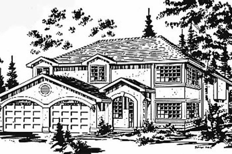 European Style House Plan - 3 Beds 2 Baths 1256 Sq/Ft Plan #18-214 Exterior - Front Elevation