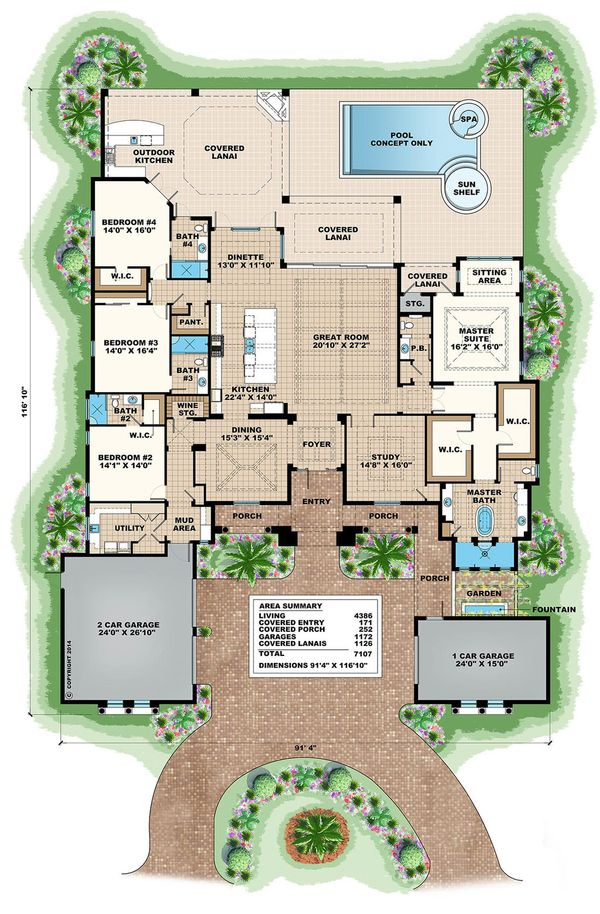 Mediterranean Floor Plan - Main Floor Plan #27-502