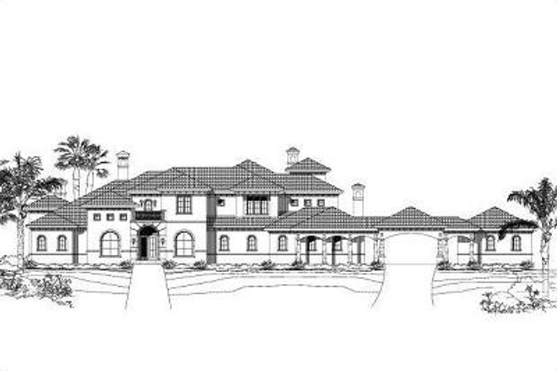 European Style House Plan - 5 Beds 5.5 Baths 7511 Sq/Ft Plan #411-381 Exterior - Front Elevation