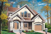European Style House Plan - 3 Beds 2.5 Baths 1669 Sq/Ft Plan #23-229 Exterior - Front Elevation