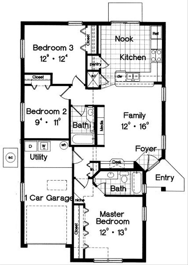 Mediterranean Floor Plan - Main Floor Plan Plan #417-106
