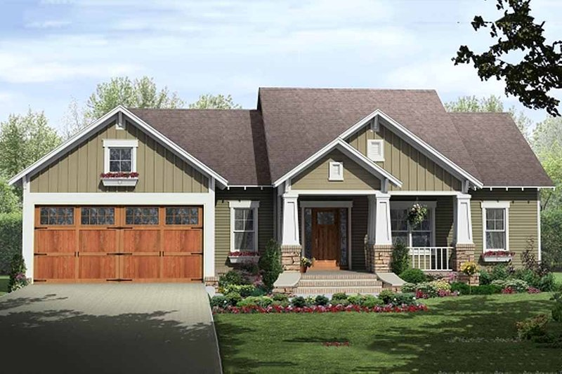 Craftsman Style House Plan - 3 Beds 2 Baths 1604 Sq/Ft Plan #21-344 Exterior - Front Elevation