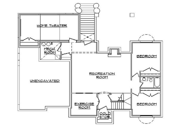 European Floor Plan - Lower Floor Plan Plan #5-372