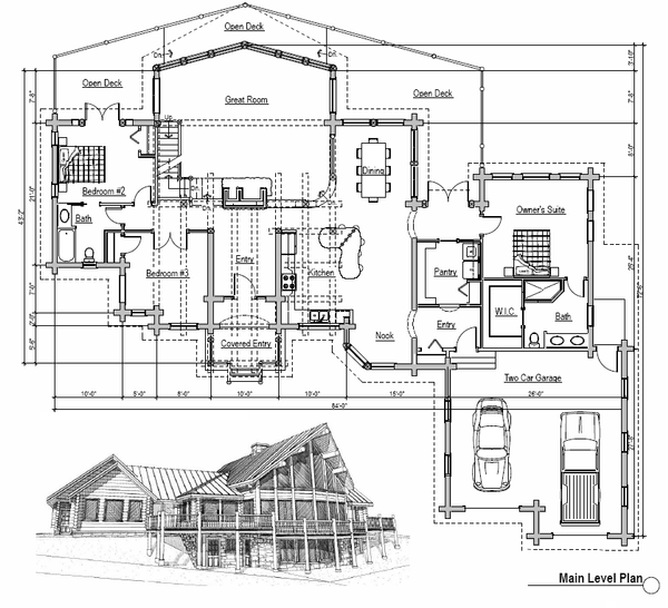 Log Floor Plan - Main Floor Plan Plan #451-2