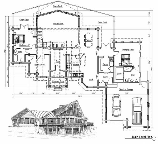 Log Floor Plan - Main Floor Plan Plan #451-2