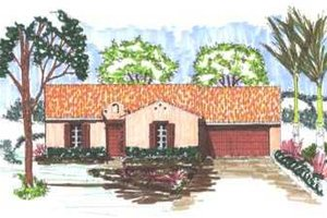 Home Plan - Mediterranean Exterior - Front Elevation Plan #76-119