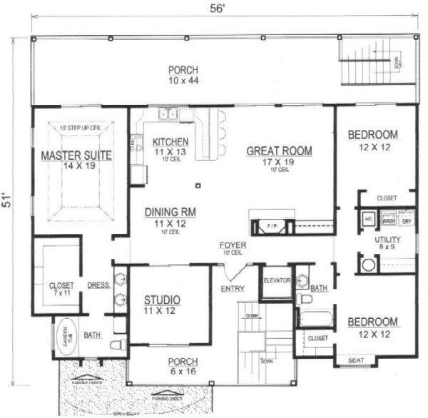 Architectural House Design - Beach Floor Plan - Main Floor Plan #14-252