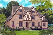 European Style House Plan - 4 Beds 3.5 Baths 3747 Sq/Ft Plan #413-814 Exterior - Front Elevation