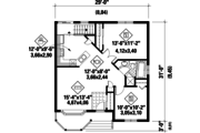 Country Style House Plan - 2 Beds 1 Baths 845 Sq/Ft Plan #25-4430 Floor Plan - Main Floor Plan