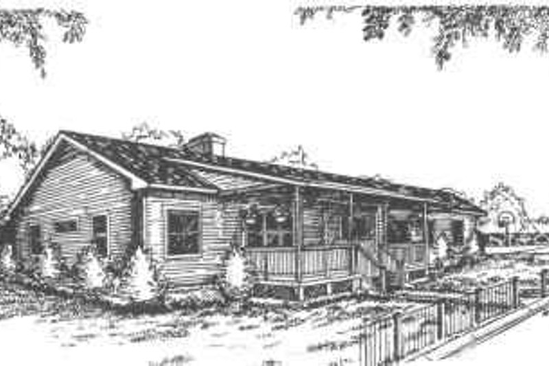 Ranch Style House Plan - 3 Beds 2 Baths 1955 Sq/Ft Plan #30-166 Exterior - Front Elevation