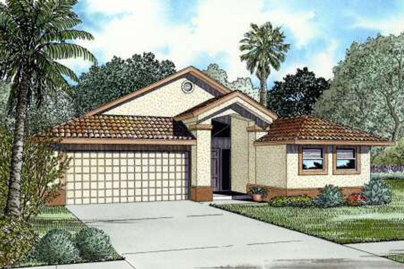 Mediterranean Style House Plan - 4 Beds 2.5 Baths 1831 Sq/Ft Plan #420-116 Exterior - Front Elevation