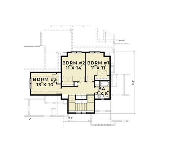 European Floor Plan - Upper Floor Plan Plan #1070-6