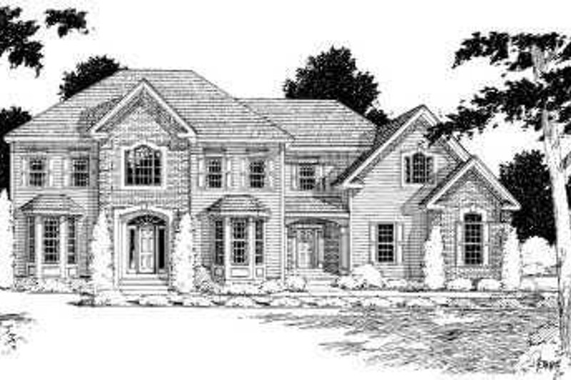 Traditional Style House Plan - 3 Beds 2.5 Baths 3047 Sq/Ft Plan #75-183 Exterior - Front Elevation