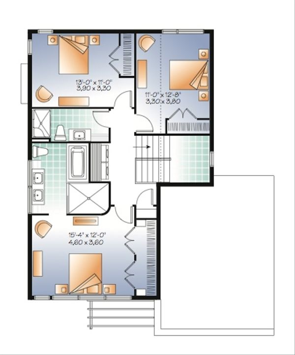 Modern Floor Plan - Upper Floor Plan Plan #23-2236