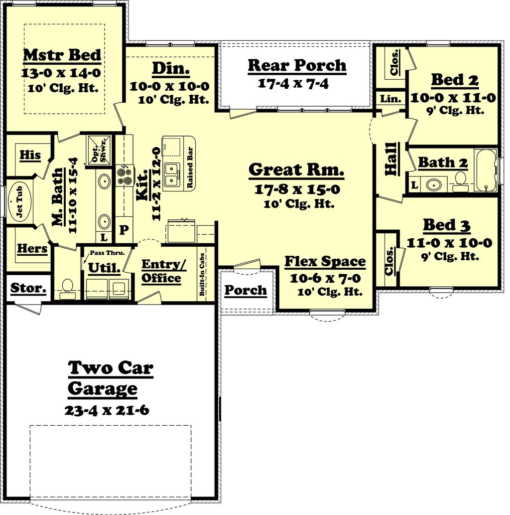 Ranch Style House Plan - 3 Beds 2 Baths 1500 Sq/Ft Plan #430-59 on 30 x 40 sq ft. house plan, 1800 sq ft ranch home plan, 1600 sq ft ranch home plan, hawaii cottage floor plan,