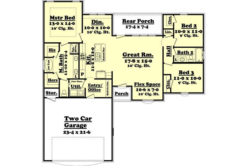 Ranch Floor Plan - Main Floor Plan Plan #430-59