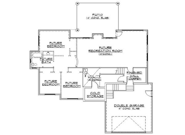 House Plan Design - Traditional Floor Plan - Lower Floor Plan #5-252