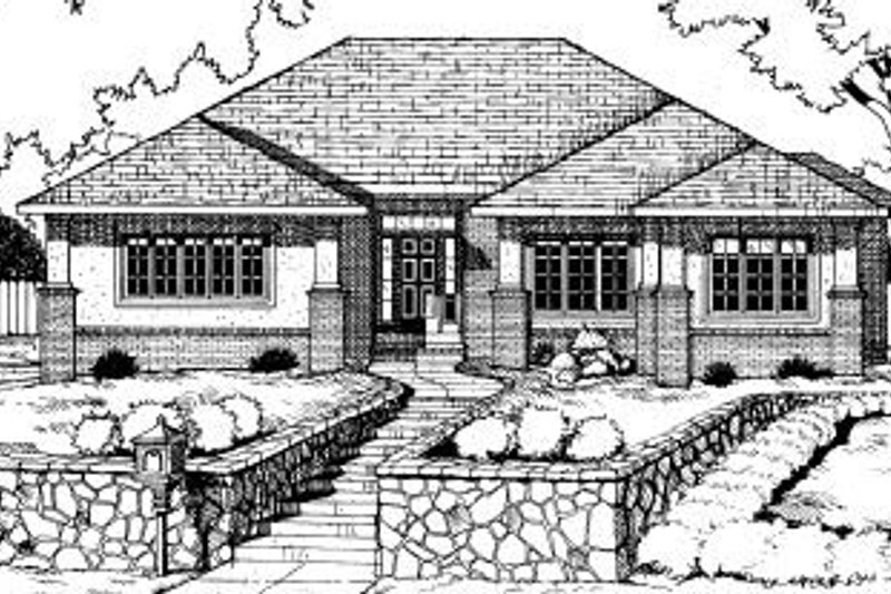 Traditional Exterior - Front Elevation Plan #20-608 - Houseplans.com