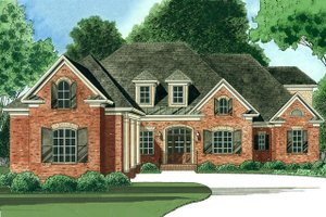 Colonial Exterior - Front Elevation Plan #1054-27