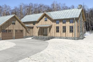 Cabin Exterior - Front Elevation Plan #497-47