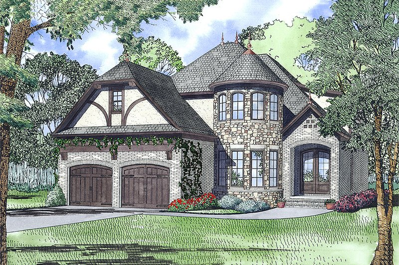 European Style House Plan - 3 Beds 3 Baths 2744 Sq/Ft Plan #17-2566 Exterior - Front Elevation