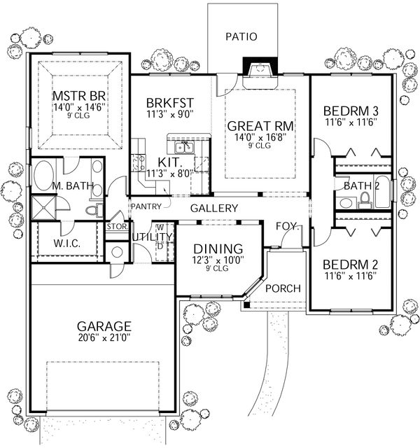 Traditional Floor Plan - Main Floor Plan Plan #80-201