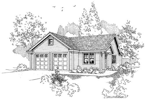 Traditional Style House Plan - 1 Beds 1 Baths 350 Sq/Ft Plan #124-790 Exterior - Front Elevation