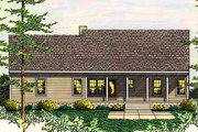 Country Style House Plan - 3 Beds 2 Baths 1492 Sq/Ft Plan #406-132 Exterior - Rear Elevation
