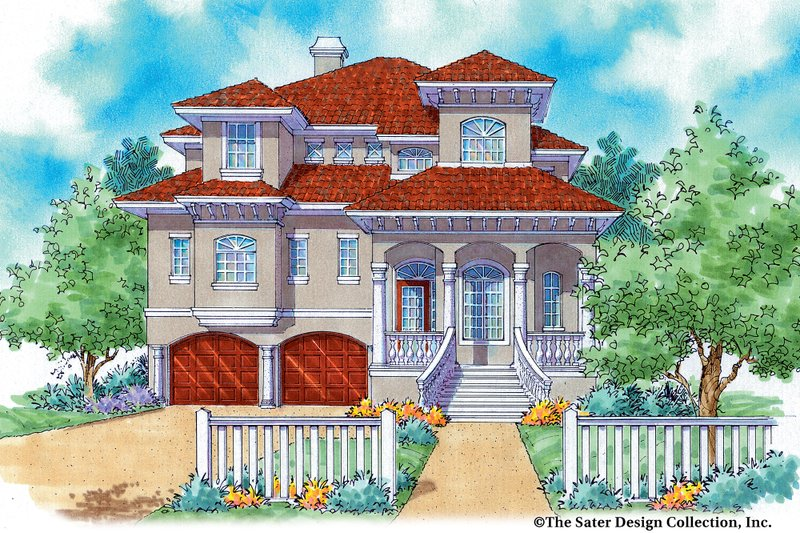 Mediterranean Exterior - Front Elevation Plan #930-16 - Houseplans.com