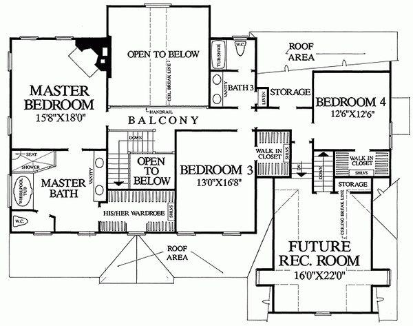 Country Floor Plan - Upper Floor Plan Plan #137-150
