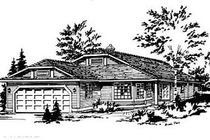 Ranch Exterior - Front Elevation Plan #18-142