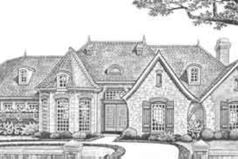 European Style House Plan - 3 Beds 3.5 Baths 3686 Sq/Ft Plan #310-338 Exterior - Front Elevation