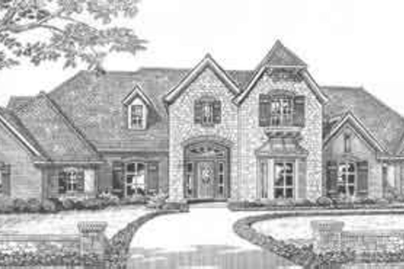 European Style House Plan - 4 Beds 3.5 Baths 3339 Sq/Ft Plan #310-501 Exterior - Front Elevation
