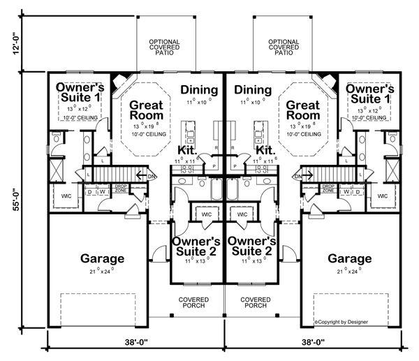 House Plan Design - Craftsman Floor Plan - Main Floor Plan #20-2435