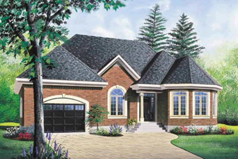 European Style House Plan - 2 Beds 1 Baths 1127 Sq/Ft Plan #23-156 Exterior - Front Elevation