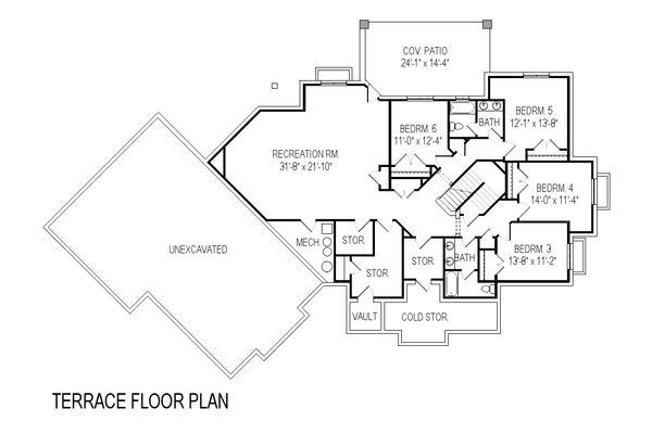 Architectural House Design - Craftsman Floor Plan - Lower Floor Plan #920-21