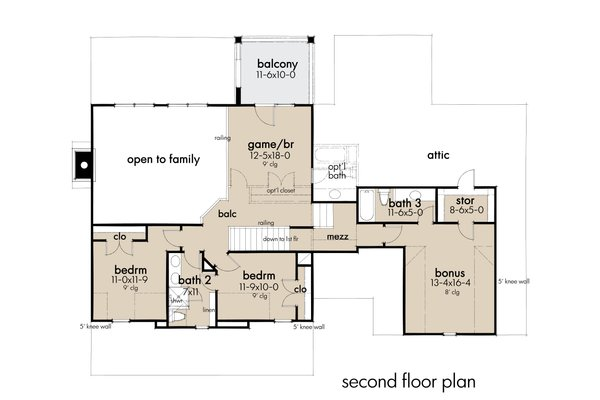Farmhouse Floor Plan - Upper Floor Plan Plan #120-272