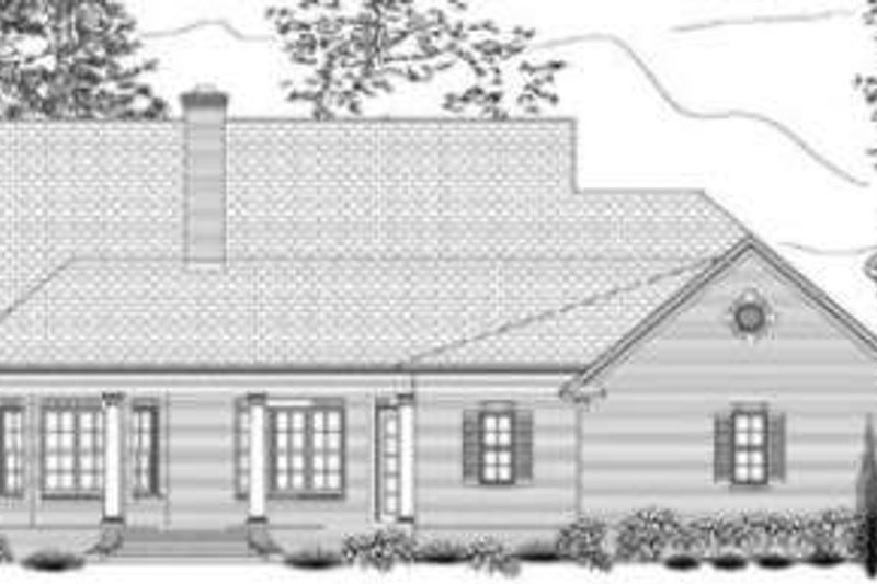 Southern Exterior - Rear Elevation Plan #406-102 - Houseplans.com